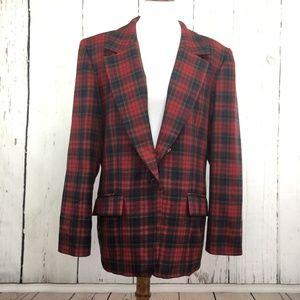Pendleton Red Plaid Blazer 100% Virgin Wool Sz 16